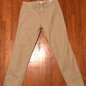 Gap tan khakis pants 32X30 slim styled pants.